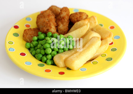 Scampi Peas and Chips - Stock Photo