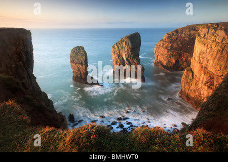 The Elegug Stacks at dawn on a winter's morning along the Pembrokeshire Coast Path in Wales - Stock Photo