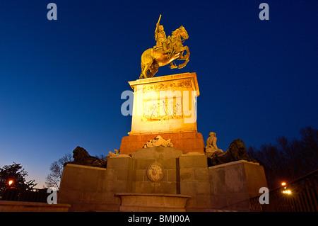 Felipe IV statue at Plaza de Oriente, Madrid, Spain - Stock Photo