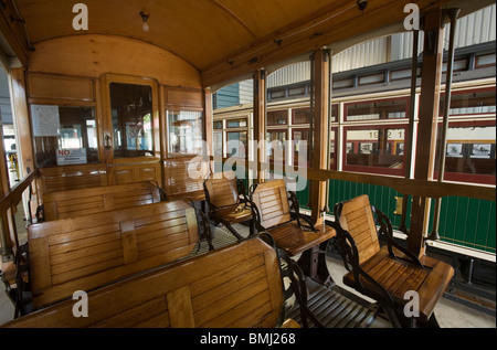 classic tram wooden interior and wooden benches trolley car stock photo 29902911 alamy. Black Bedroom Furniture Sets. Home Design Ideas
