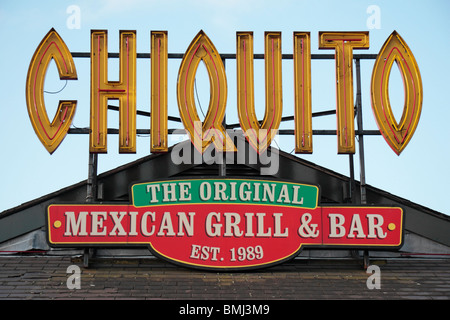 The Chiquito logo above a branch in Salford Quays, Manchester, UK. - Stock Photo
