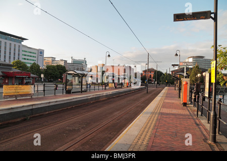 Salford Quays Metrolink Station, Manchester, UK. - Stock Photo