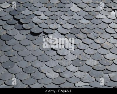 El Acebo village. El Bierzo area. Leon province. Spain. WAY OF ST JAMES. Tile slate slates - Stock Photo