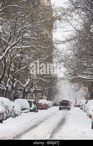 Snow covered street - Stock Photo
