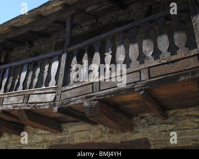 El Acebo village. El Bierzo area. Leon province. Spain. WAY OF ST JAMES. balcony wood old rural - Stock Photo