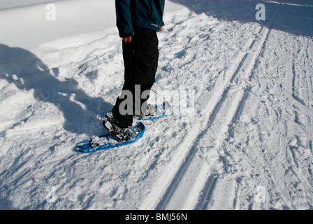 snowshoes sport Winter scene athletic athlete North Lake Tahoe snowshoing snowshoeing California USA ice snow winter - Stock Photo