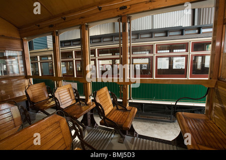 classic tram wooden interior and wooden benches trolley car stock photo royalty free image. Black Bedroom Furniture Sets. Home Design Ideas