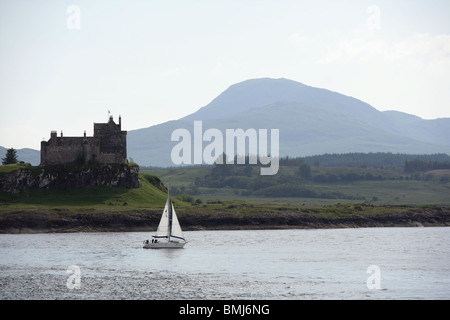 Duart Castle, Isle of Mull from the Mull to Oban ferry - Stock Photo