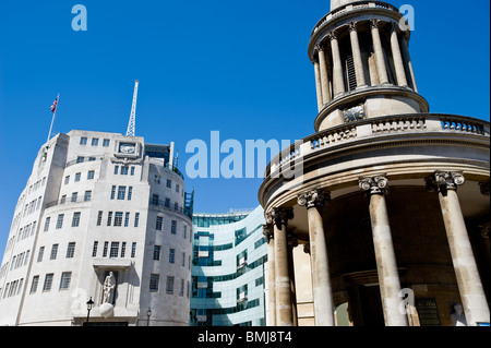 All Souls Church by BBC Broadcasting House on Langham Place, London, United Kingdom - Stock Photo