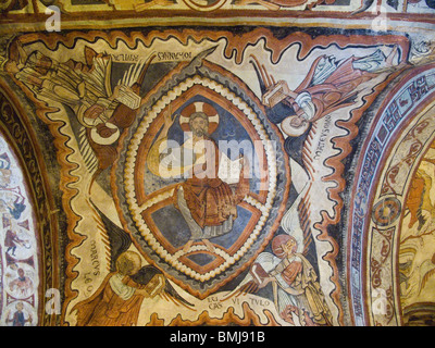 Panthocrator. Romanesque paintings in the Crypt of the Kings, Collegiate Church of San Isidoro, Leon, Spain. - Stock Photo