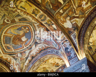 Panthocrator. Romanesque paintings in the Crypt of the Kings. Collegiate Church of San Isidoro, Leon, Spain - Stock Photo