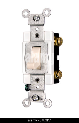 A new 110 volt electrical power light switch isolated on white. - Stock Photo
