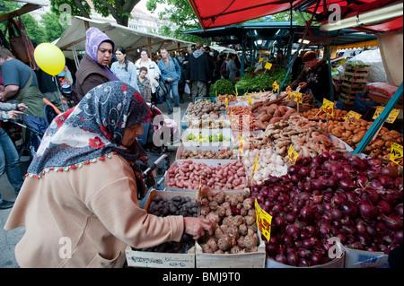 Turkish market on Maybachufer in Kreuzberg district of Berlin Germany - Stock Photo