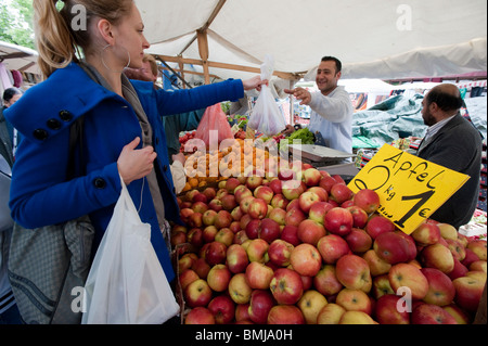 Fruit and vegetable stall at Turkish market on Maybachufer in Kreuzberg district of Berlin Germany - Stock Photo