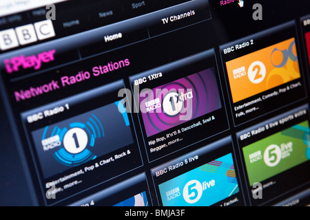 Close up of the iPlayer media on demand service website - Stock Photo