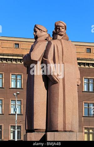 Monument to Latvian Red Riflemen, Riga, Latvia - Stock Photo
