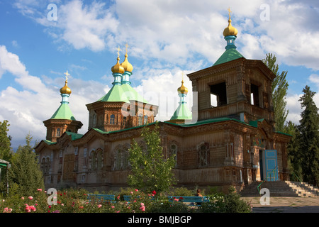 Russian Orthodox Holy Trinity Cathedral in Karakol, Kyrgyzstan - Stock Photo
