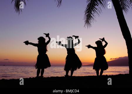 Three hula dancers perform at sunset framed by a palm tree at Olowalu, Maui, Hawaii, USA. - Stock Photo