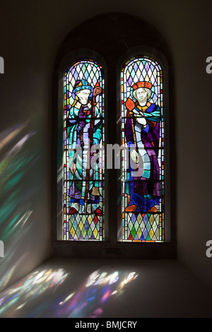 Stained glass window depicting St David patron saint of Wales and King David St David's Church Caldey Island Wales - Stock Photo