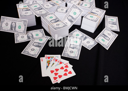 Piles Of Money And Cards - Stock Photo