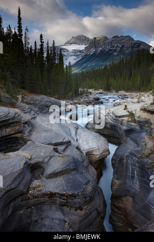 Mistaya Canyon at dawn, nr Saskatchewan Crossing, Banff National Park, Alberta, Canada - Stock Photo