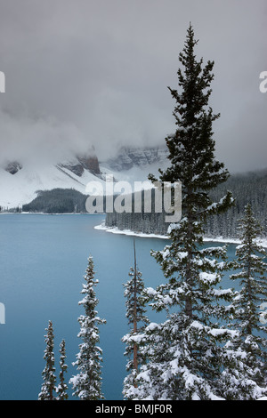 a fresh snowfall at Morraine Lake in the Valley of the Ten Peaks, Banff National Park, Alberta, Canada - Stock Photo