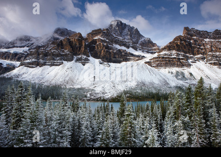 Mount Crowfoot & the Crowfoot Glacier above Bow Lake in the snow, Icefields Parkway, Banff National Park, Alberta, - Stock Photo