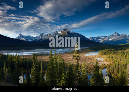 the Howse River and Waputik Mountains, Saskatchewan Crossing, Banff National Park, Alberta, Canada - Stock Photo