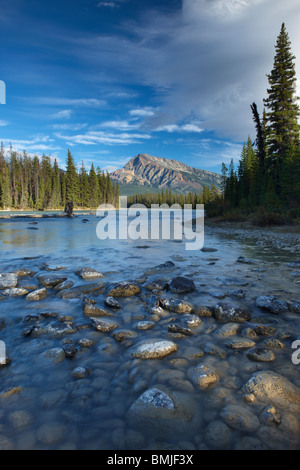 the Athabasca River at the Meeting of the Waters, Jasper National Park, Alberta, Canada - Stock Photo