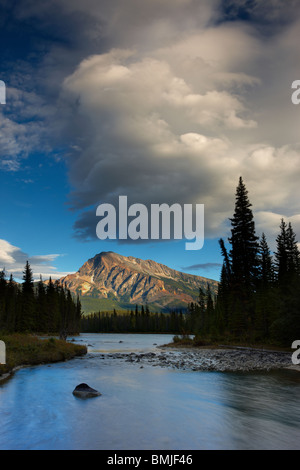 the Athabasca River at the Meeting of the Waters, with Mt Hardisty beyond, Jasper National Park, Alberta, Canada - Stock Photo