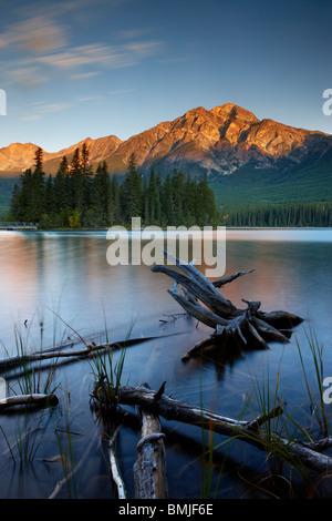 Pyramid Lake and Mountain at dawn, Jasper National Park, Alberta, Canada - Stock Photo