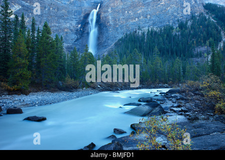 Takakkaw Falls and the Yoho River, Yoho National Park, British Columbia, Canada - Stock Photo
