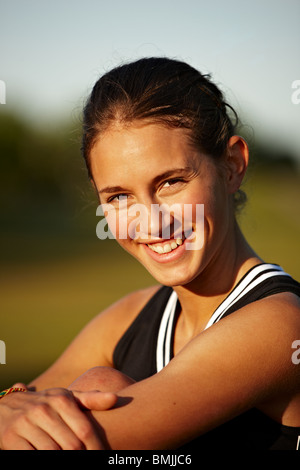 Portrait of a young woman, Sweden. - Stock Photo