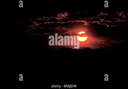 Sunset over the Okavango Delta, North-West District, Botswana - Stock Photo