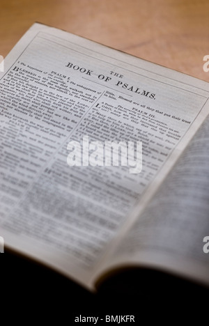 The title page for 'The Book of Psalms' in an old Bible. - Stock Photo