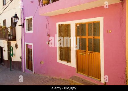 Historic town of Guanajuato, Doors and windows, Province of Guanajuato, Mexico - Stock Photo