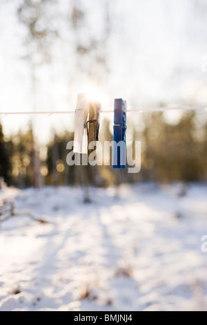 Scandinavian Peninsula, Sweden, Skane, View of washing line with clothes peg - Stock Photo