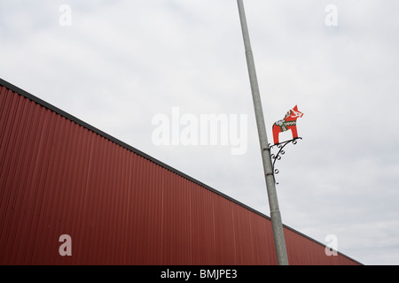 Scandinavia, Sweden, Vastmanland, Dalarna, View of lamp post and cargo container - Stock Photo