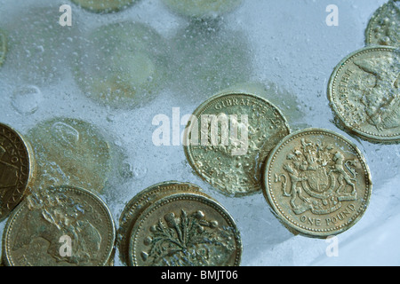 £ -  Pound coins frozen in ice - Stock Photo