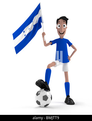 Smiling cartoon style soccer player with ball and Honduras flag - Stock Photo