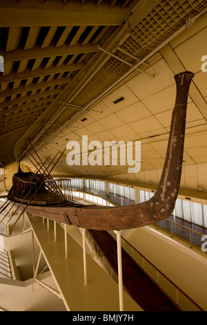 Khufu's solar boat on display at the Solar Boat Museum, Giza, Al Jizah, Egypt - Stock Photo