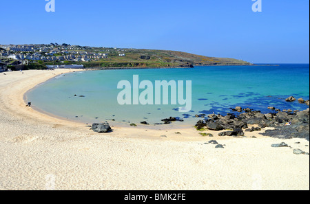 a peaceful scene at porthmeor beach in st.ives, cornwall, uk - Stock Photo