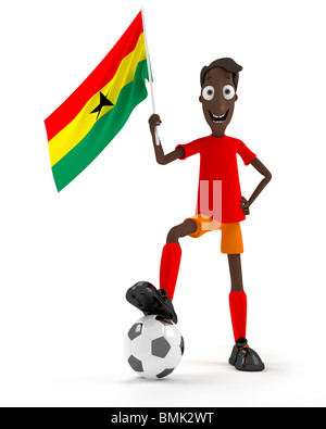Smiling cartoon style soccer player with ball and Ghana flag Stock Photo