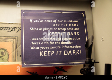 A World War Two sign warning people to 'Keep it Dark'.  Imperial War Museum North, Salford Quays, Manchester. ISO800 - Stock Photo