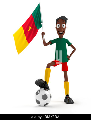 Smiling cartoon style soccer player with ball and Cameroun flag - Stock Photo