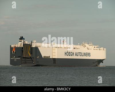 Vehicle transport ship Hoegh St Petersburg leaving Southampton UK - Stock Photo