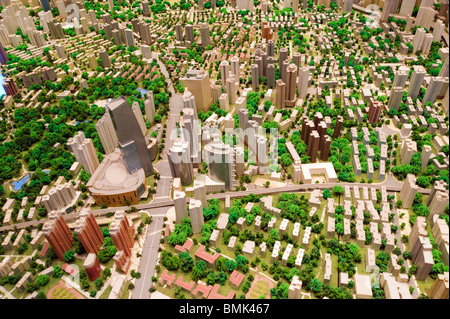 Scale model of the city in the Shanghai Urban Planning Museum, Shanghai, China - Stock Photo