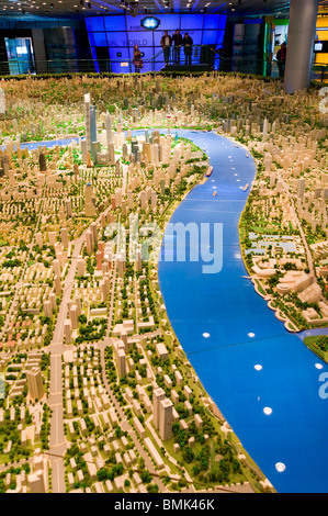 Scale model of the city in the Shanghai Urban Planning Museum - Stock Photo