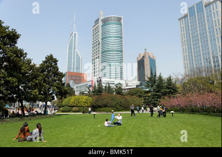 Renmin Guangchang or People's Square, Shanghai, China - Stock Photo