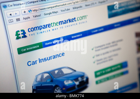 Close up of a computer monitor / screen showing the Compare the market website helpin you find the best car insurance - Stock Photo